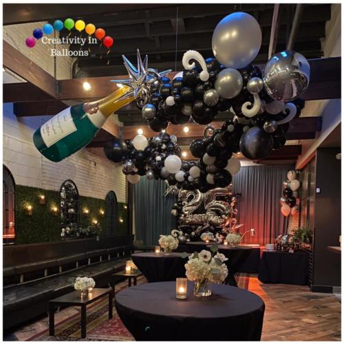 25th Birthday - Giant Champagne and Organic Balloon Garland